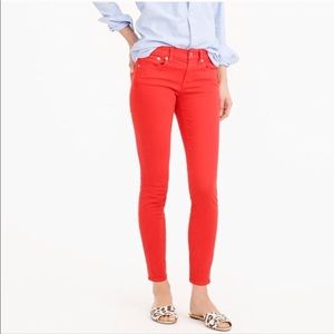 J. Crew Red Garment Dyed Twill Toothpick Jeans